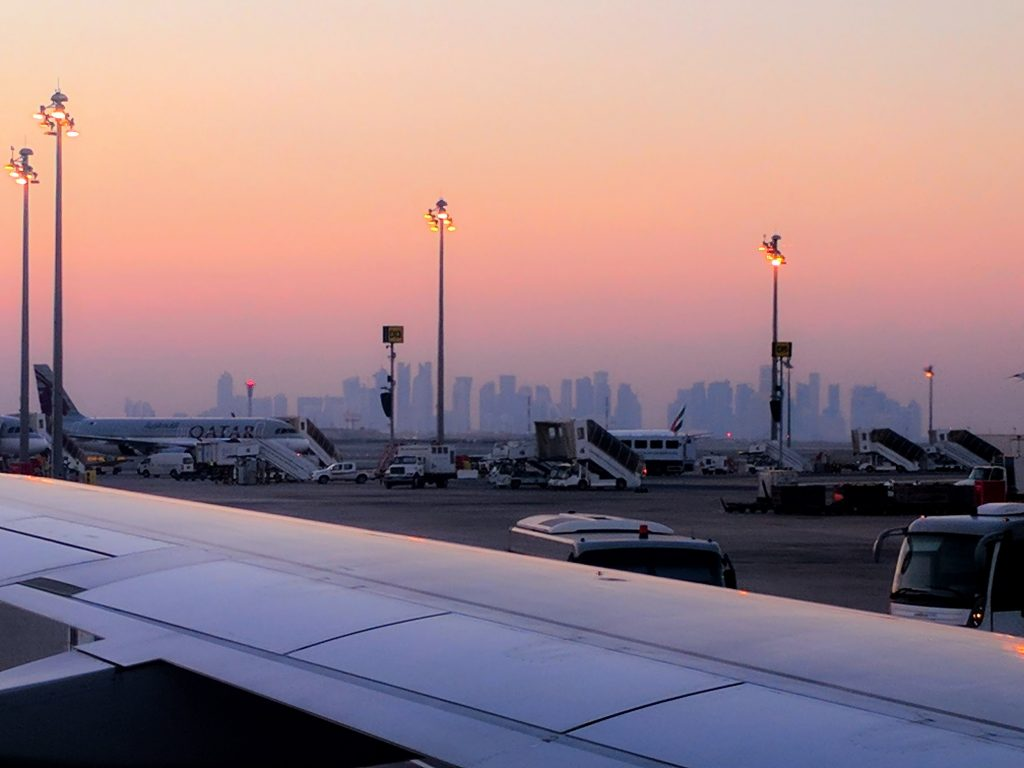 Doha at sunset, after landing