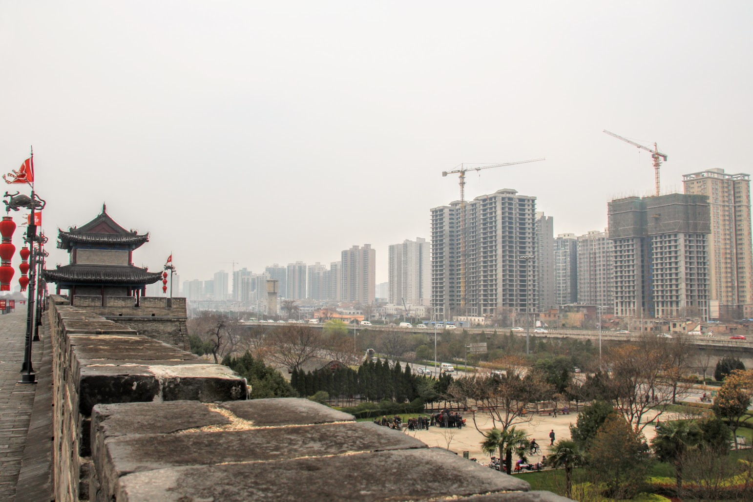 Xi'an actively expanding, view from the fortified wall